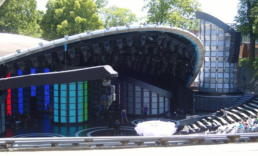 Amfiteatr Tysiąclecia w Opolu - próba przed 46. KFPP w Opolu
