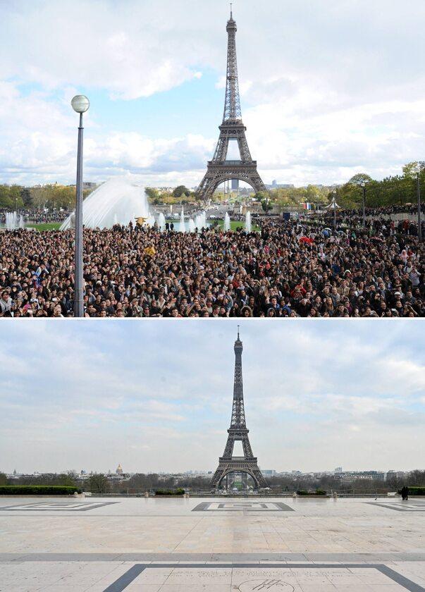 Wieża Eiffla w Paryżu 5, listopada 2012 roku i 18 marca 2020