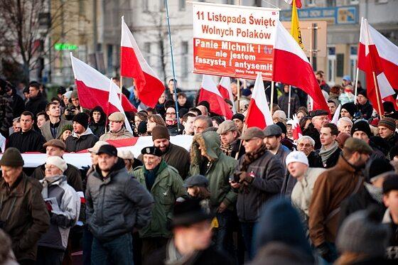 ...ani zapewnień, że uczestnicy marszu nie są faszystami (fot. Jakub Czermiński)