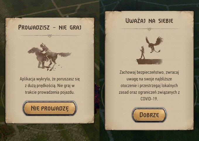 Specjalne komunikaty wyświetlane wgrze Wiedźmin: Pogromca Potworów