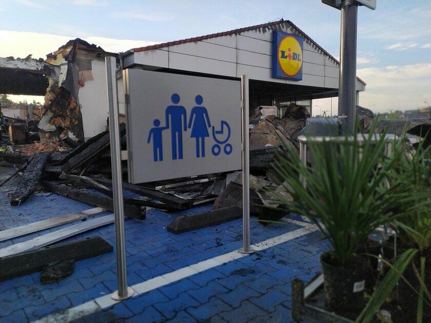 Pożar Lidla w Kielcach