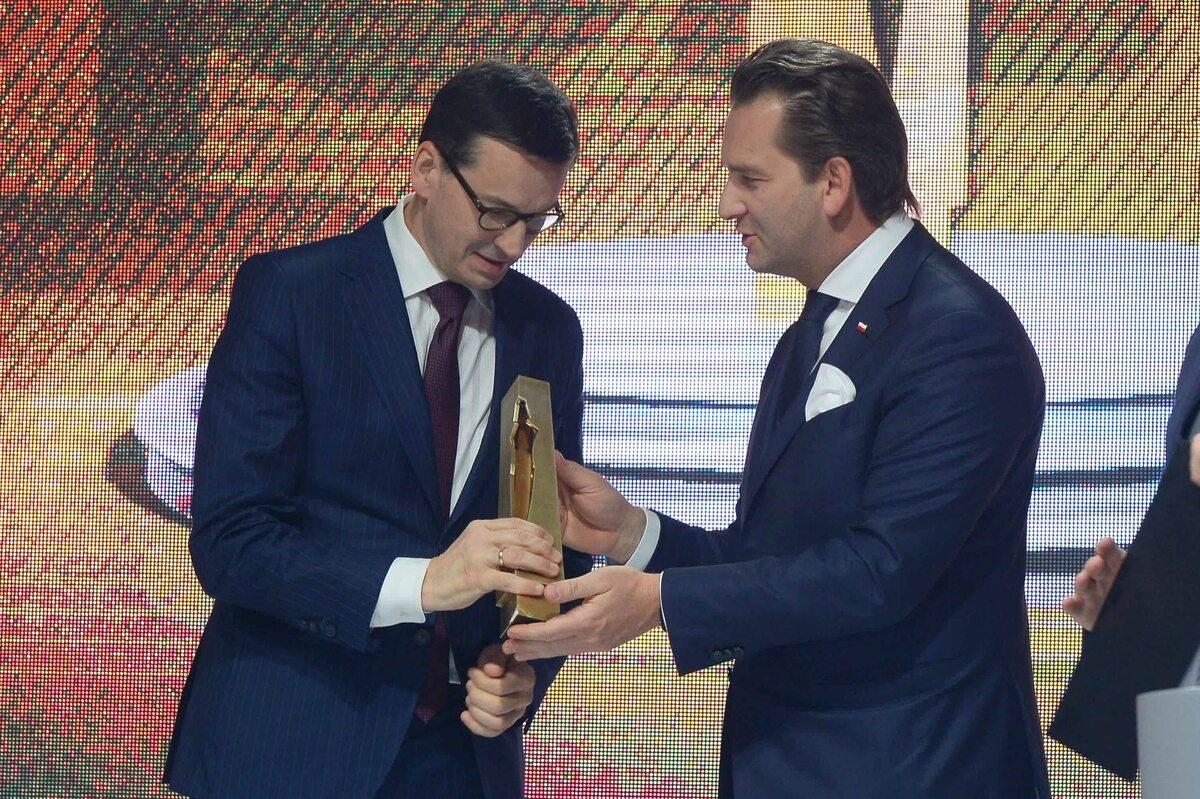 Premier Mateusz Morawiecki i prezes PMPG Polskie Media Michał M. Lisiecki