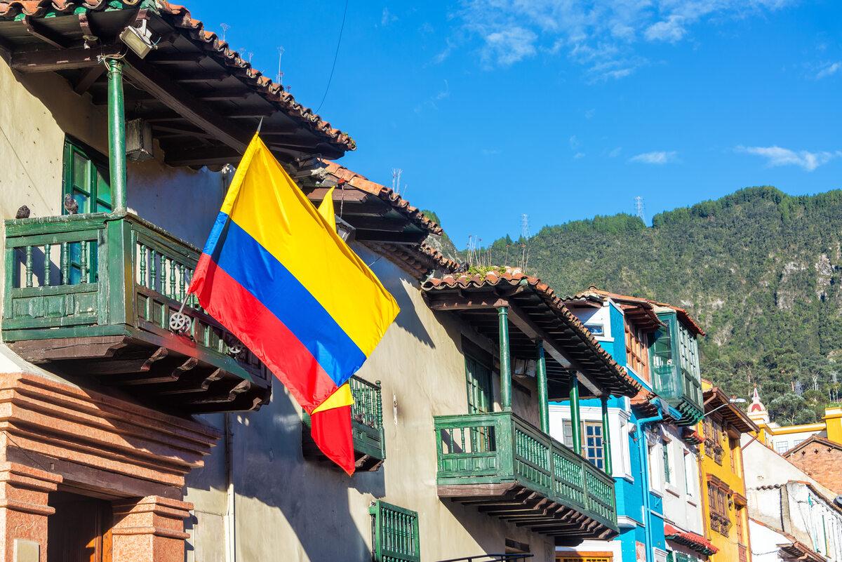 Flaga Kolumbii w Bogocie