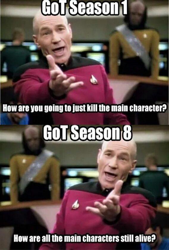 """Sezon 1 - """"Zamierzasz zabić wszystkie główne postaci?"""" Sezon 8 - """"Czemu wszystkie główne postaci nadal żyją?"""""""