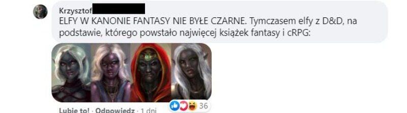 Komentarz atakujący osoby oburzone na ciemnoskóre elfy