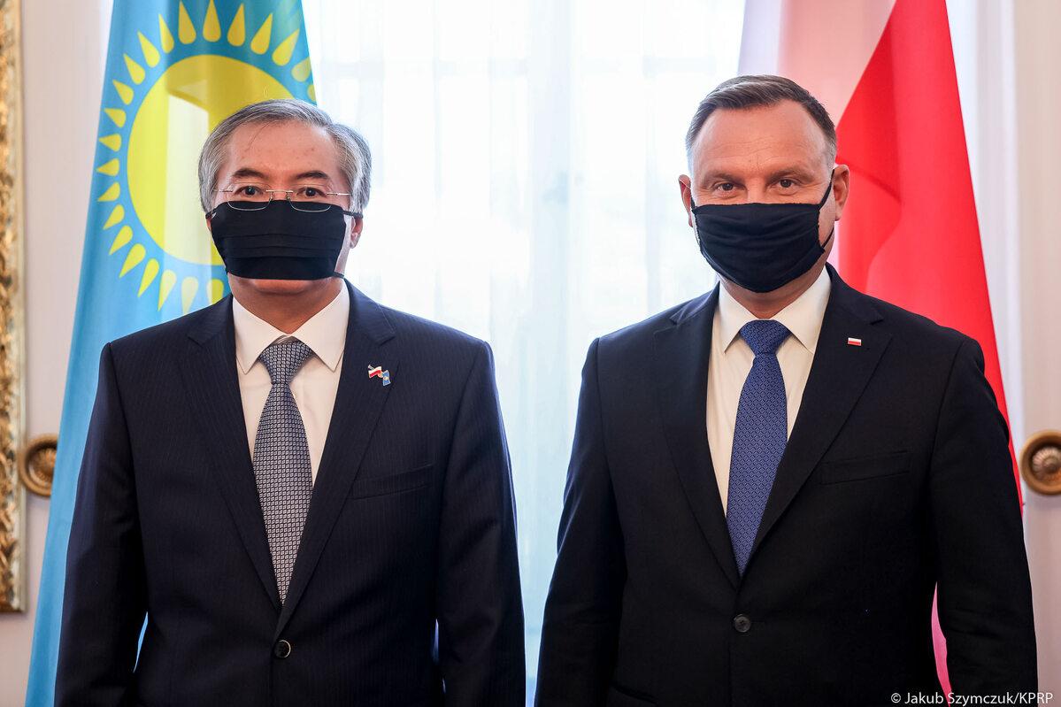 Andrzej Duda i ambasador Republiki Kazachstanu w RP