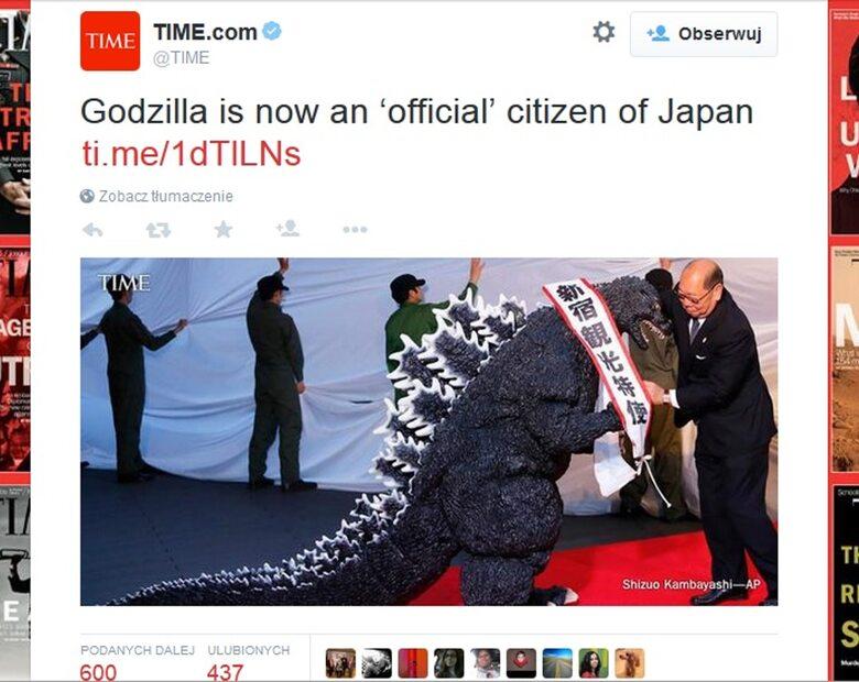 Godzilla otrzymała honorowe obywatelstwo Japonii