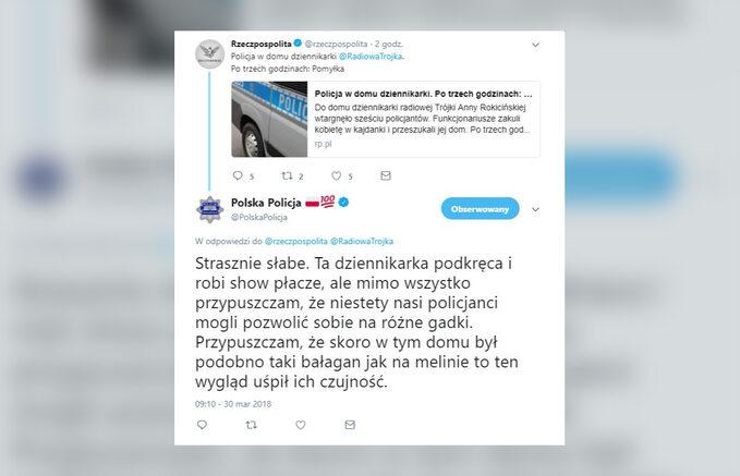 Polska Policja ointerwencji udziennikarki