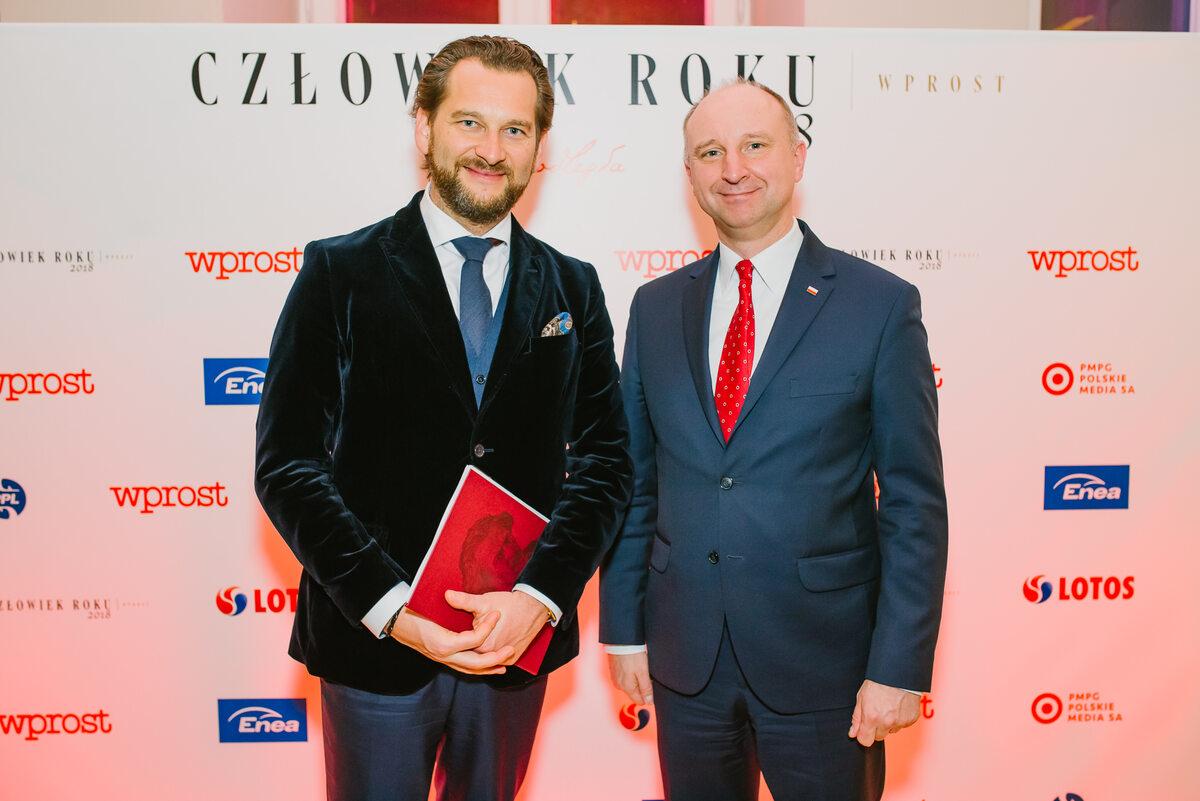 Prezes PMPG Polskie Media Michał M. Lisiecki i Minister Wojciech Kolarski