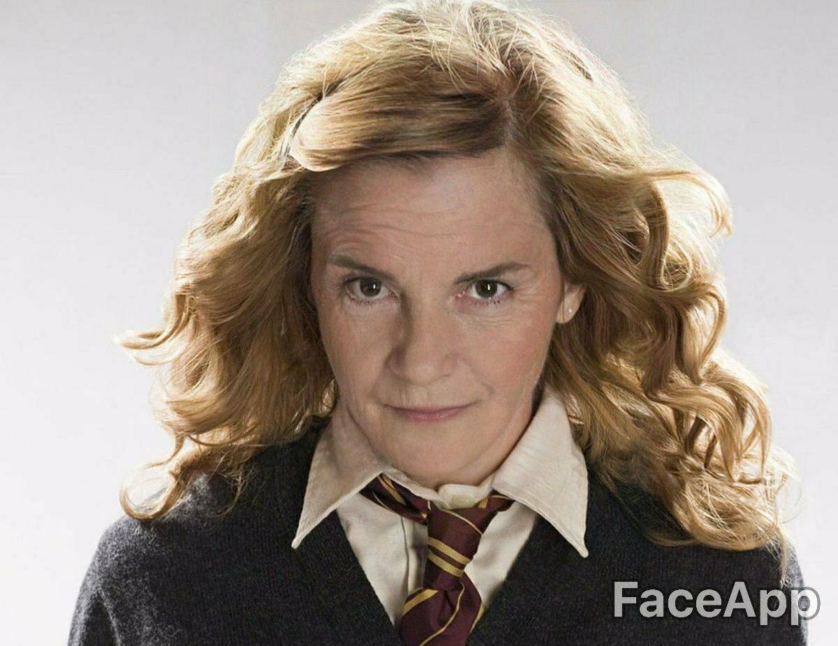 Hermiona Granger (Emma Watson) postarzona przez FaceApp