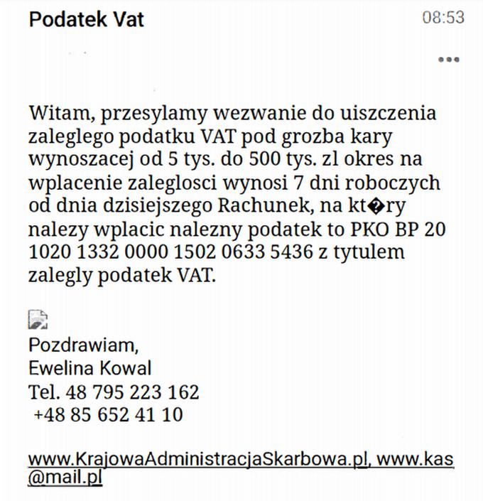 Przykładowa wiadomość e-mail