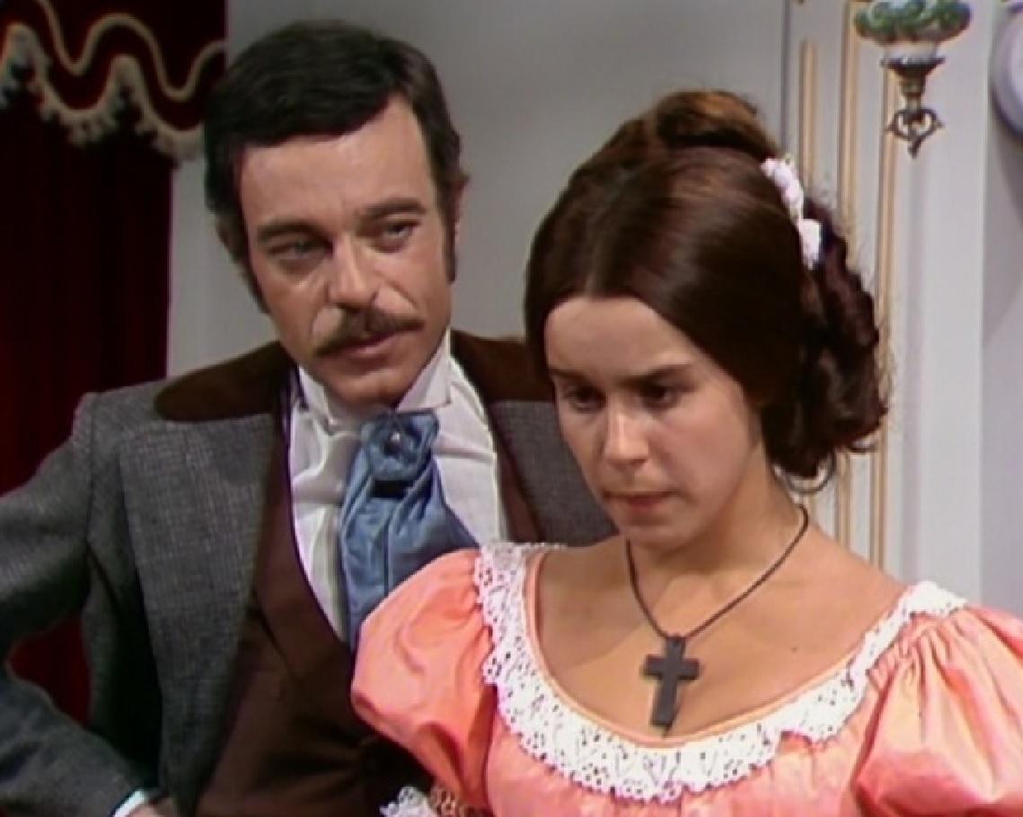 """Rubens de Falco i Lucelia Santos w serialu """"Niewolnica Isaura"""" (1976)"""