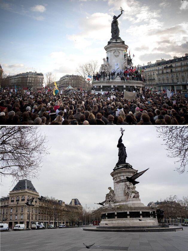 Plac Republiki w Paryżu 11 stycznia 2015 roku i 18 marca 2020 roku