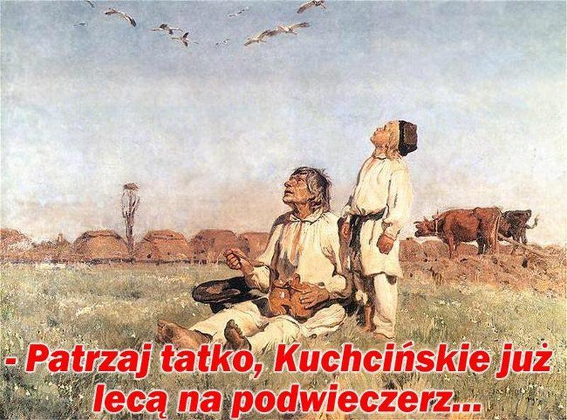 Mem z lotami Marka Kuchcińskiego