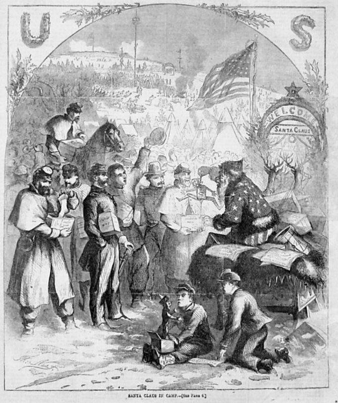 Św. Mikołaj naokładce Harper's Weekly z3 stycznia 1863r.