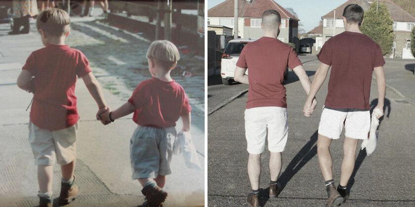 Simon Tester z bratem jako dzieci i dorośli mężczyźni