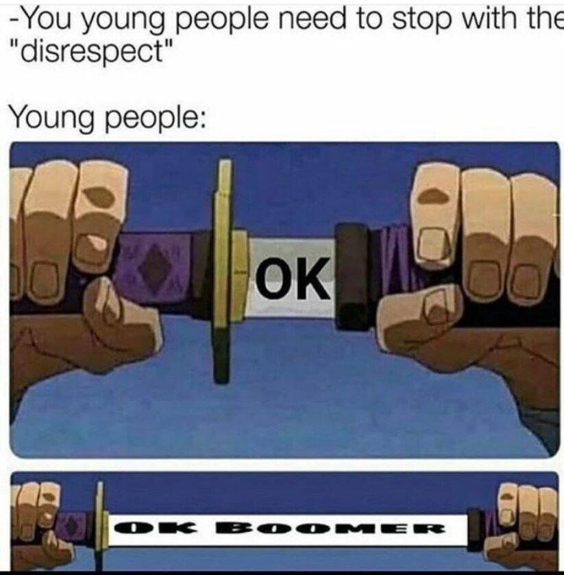 """Mem związany z hasłem """"OK BOOMER"""" i międzypokoleniową wojną w internecie"""