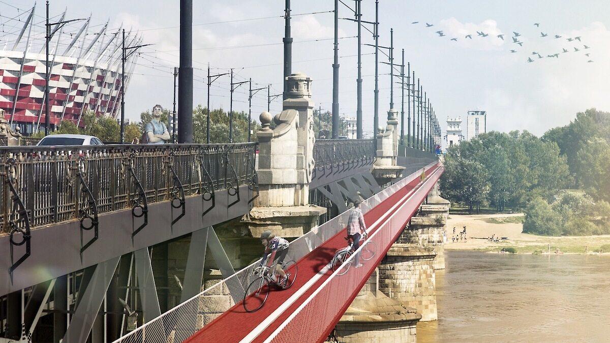 Kładka rowerowa na Moście Poniatowskiego Kładka rowerowa na Moście Poniatowskiego autorstwa Mikołaja Molendy i Kamy Wybieralskiej