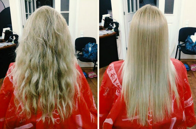 Keratynowe prostowanie włosów -Efekt przed ipo