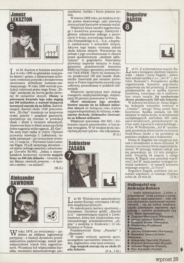 100 Najbogatszych Polaków - Ranking Wprost 1991