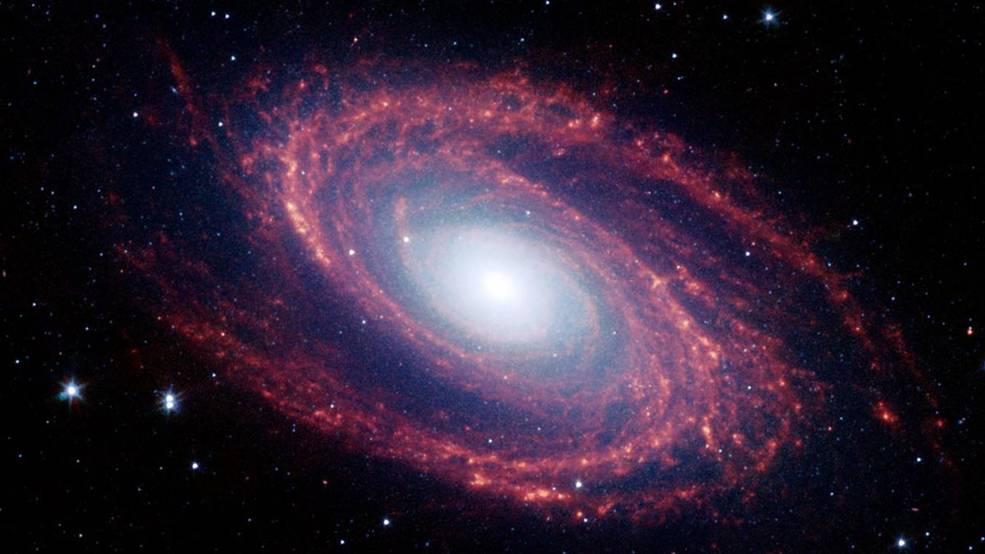 Galaktyka Bodego (Messier 81) na zdjęciu wykonanym przez Kosmiczny Teleskop Spitzera