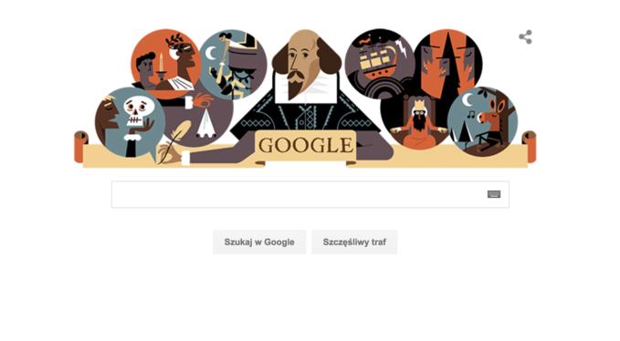 Google narocznicę śmierci Williama Szekspira