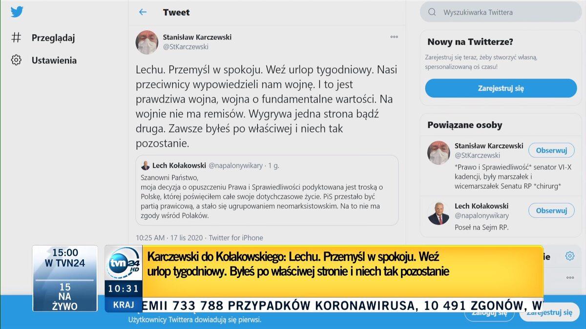 Komentarz Stanisława Karczewskiego na antenie TVN24