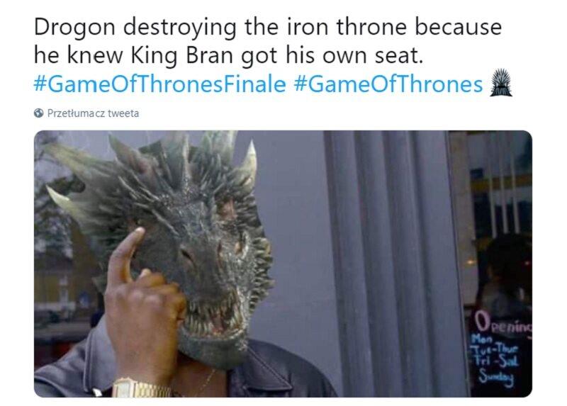 Drogon zniszczył żelazny tron, bo wie, że Bran i tak ciągle siedzi na swoim wózku