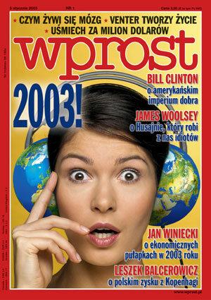 Okładka tygodnika Wprost nr 1/2003 (1049)