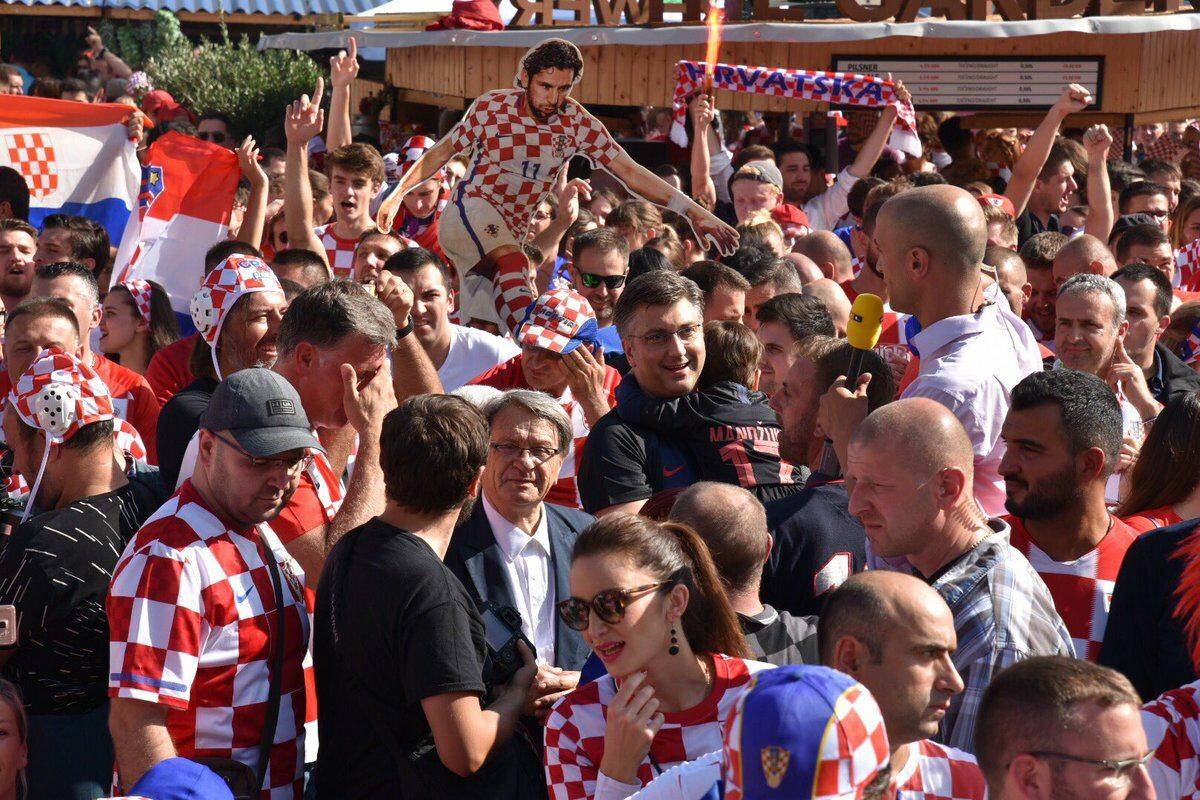 Strefa kibica w Chorwacji, w której dopingował premier kraju Andrej Plenković