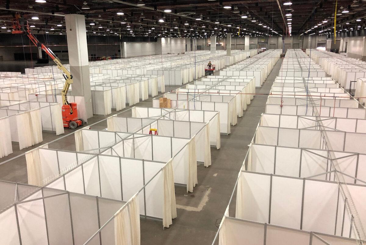 Detroit. Miejsce przygotowane dla pacjentów chorych na COVID-19 (6 kwietnia)
