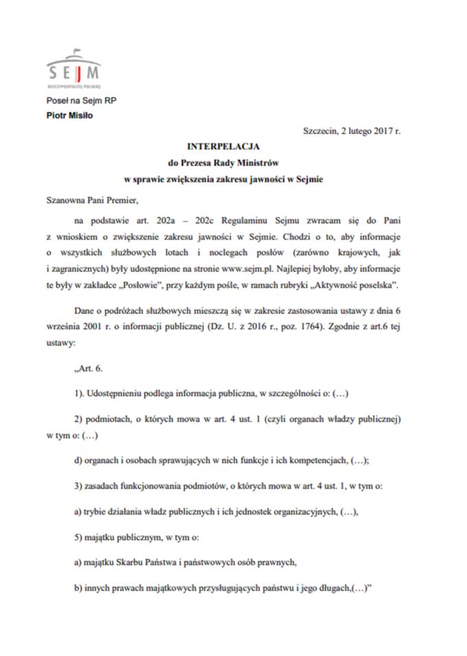 Interpelacja doPrezesa Rady Ministrów wsprawie zwiększenia jawności wSejmie