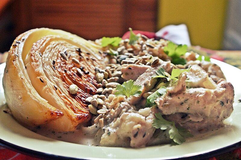 Potrawka z kurczaka z kapustą i kaszą owsianą