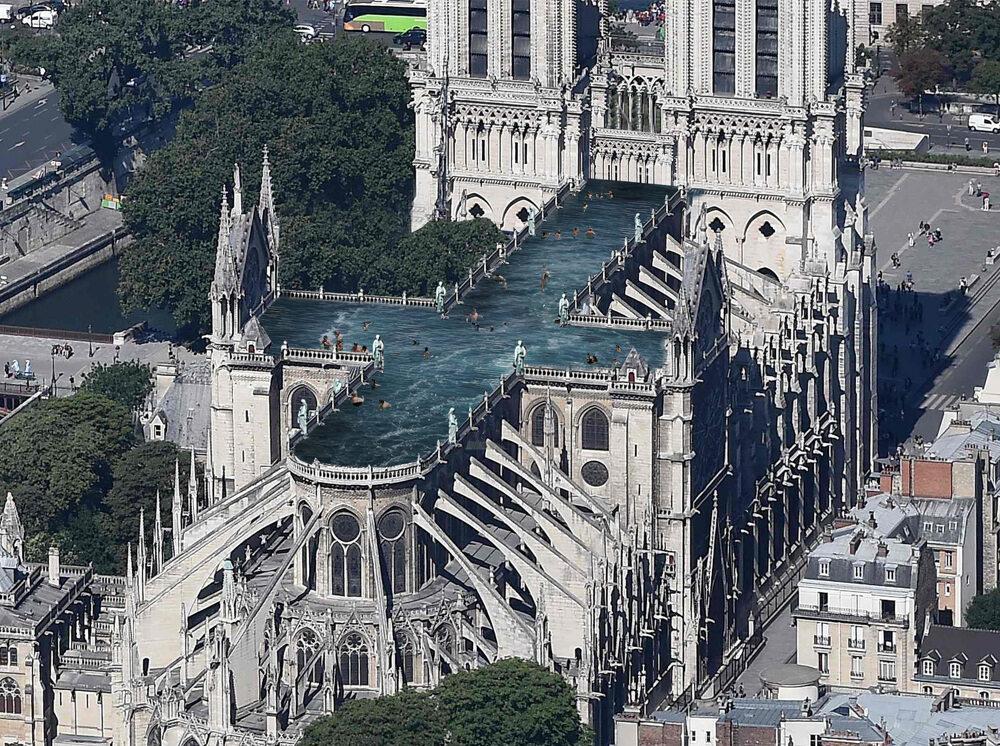 Basen na dachu Notre-Dame