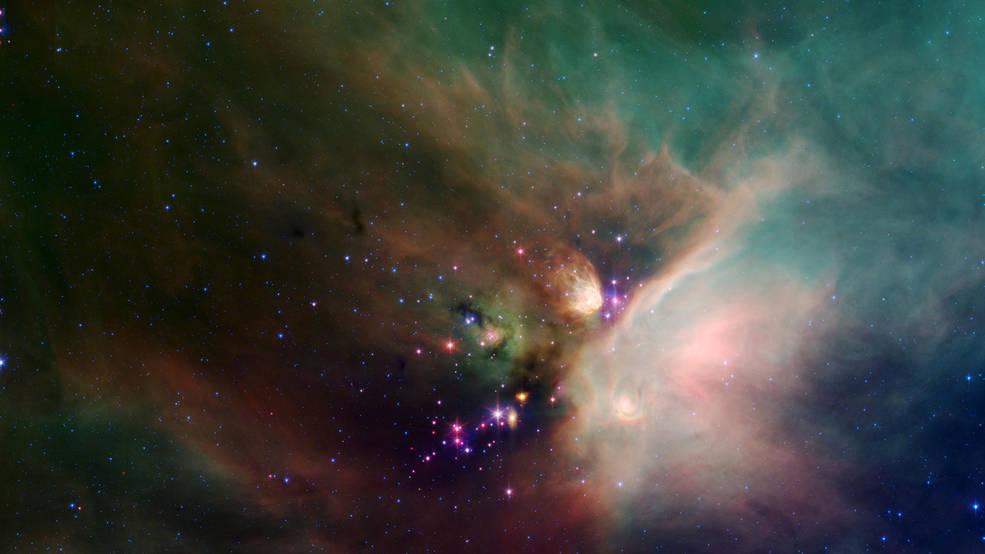 """Gwiazda Ro Ophiuchi znajdująca się w gwiazdozbiorze Wężownika Na zdjęciu widzimy, jak nowo narodzone gwiazdy wyglądają spod ich naturalnego """"pyłowego koca""""."""