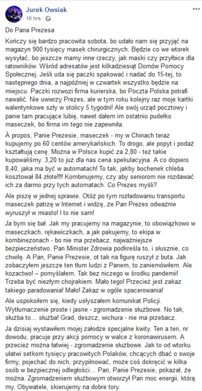 Jurek Owsiak doprezesa PiS