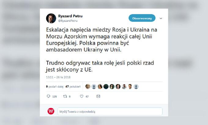 Wpis naTwitterze Ryszarda Petru