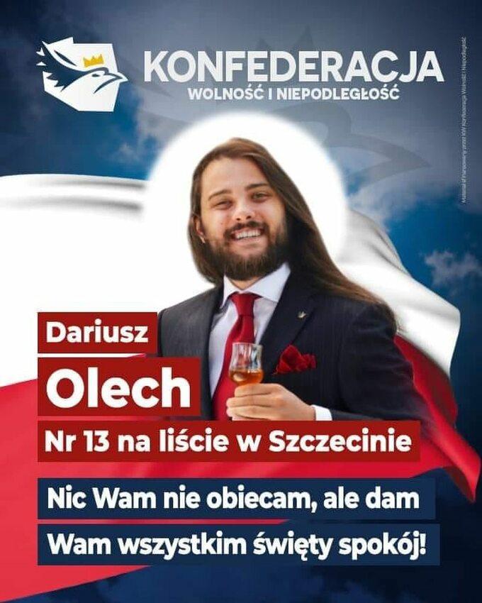 Plakat Dariusza Olecha zKonfederacji