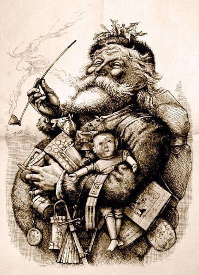 Św. Mikołaj naokładce magazynu Harper's Weekly autorstwa Thomasa Nasta z1881r.