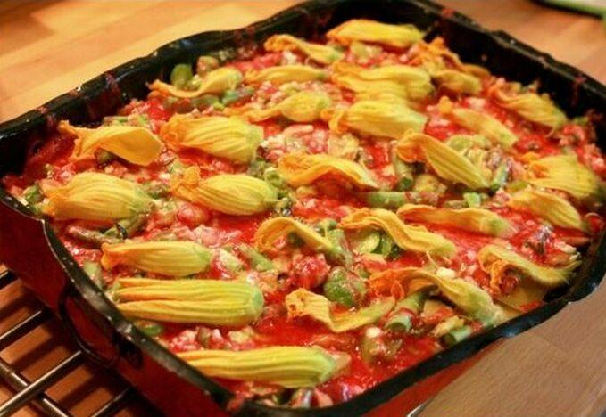 Lasagne warzywna z cheddarem
