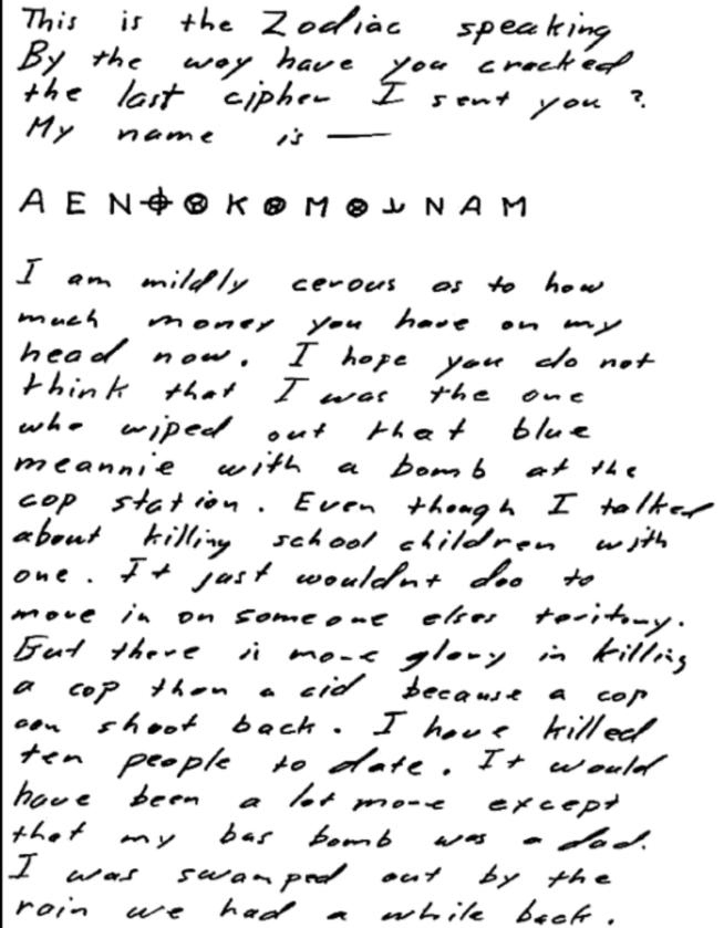 List do San Francisco Chronicle z 7 sierpnia 1969
