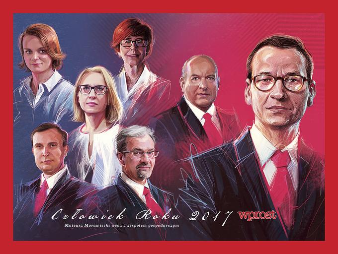 Premier Mateusz Morawiecki ijego zespół gospodarczy ministrów ztytułem Człowieka Roku 2017