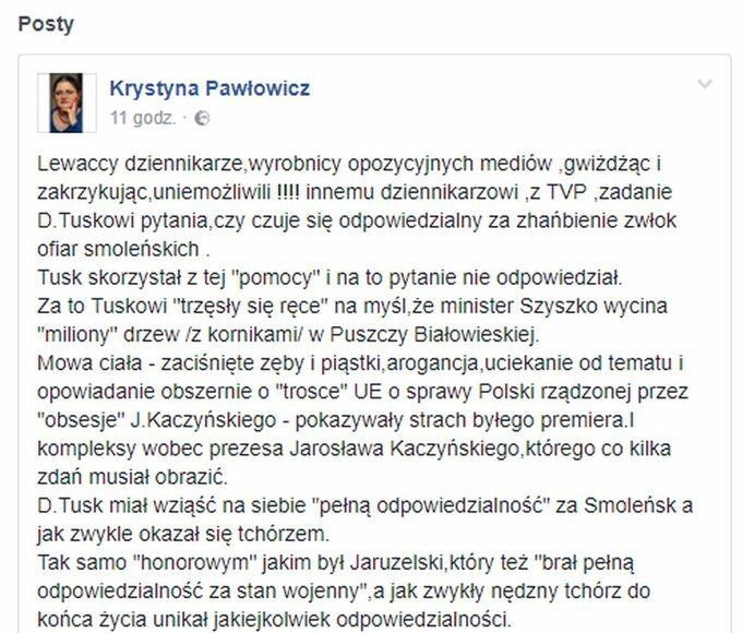 Krystyna Pawłowicz oprzesłuchaniu Donalda Tuska