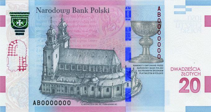 """Rewers banknotu """"1050-lecie Chrztu Polski"""""""