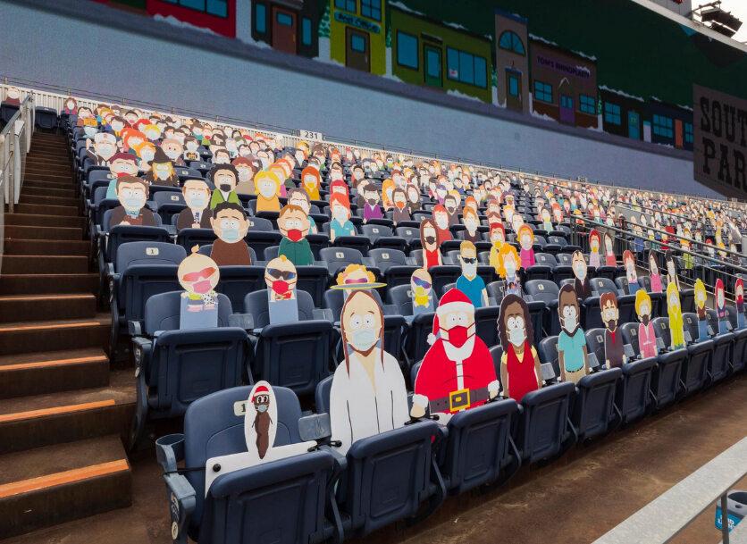 """Postaci z serialu """"South Park"""" na stadionie drużyny Denver Broncos"""