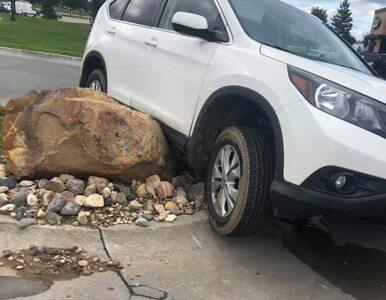 Kogoś denerwowało zachowanie kierowców, więc postawił głaz. Na efekty...
