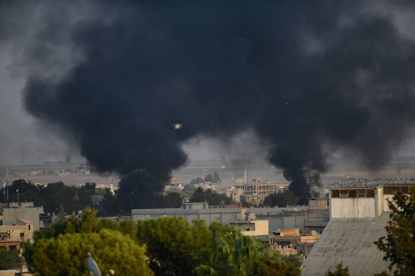 9 października 2019 roku. Efekt tureckich nalotów na Ras al-Ajn