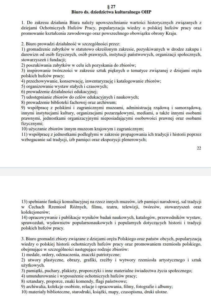 Fragment regulaminu organizacyjnego komendy głównej OHP