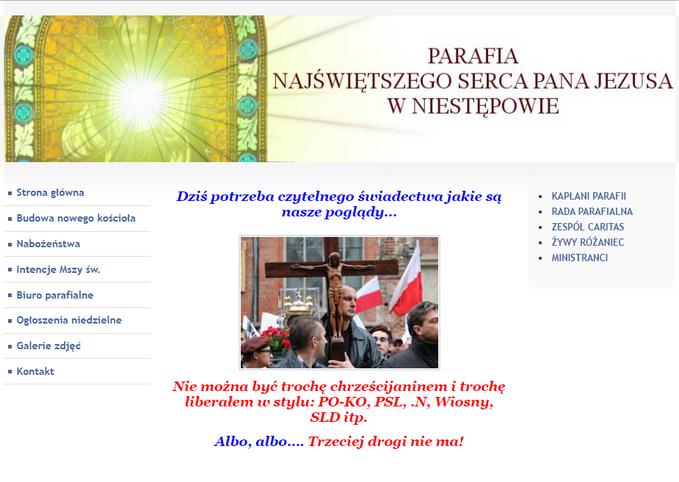 Tak wygląda strona główna parafii wNiestępowie