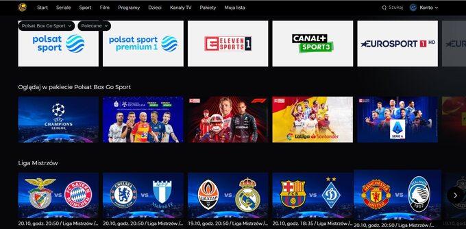 Polsat Box Go Sport le permite ver los canales y eventos deportivos más populares en vivo